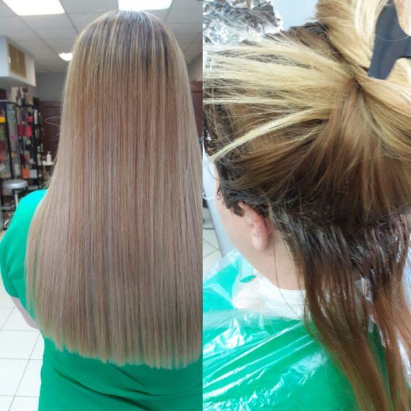 Сложные виды окрашивания волос в парикмахерской На Речной, Красногорск, на фото окрашивание ОМБРЕ, работа мастера салона