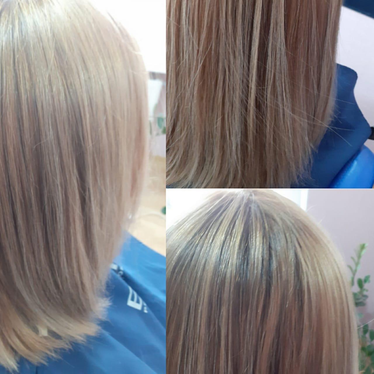 Сложные виды окрашивания волос в парикмахерской На Речной, Красногорск, на фото окрашивание с эффектом выгоревших волос, работа мастера салона