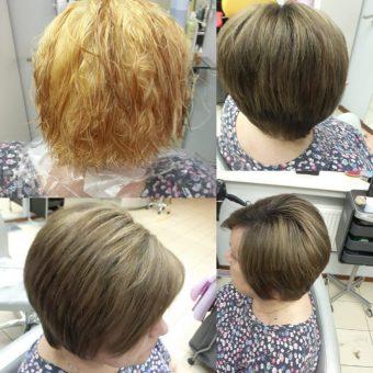 Сложные виды окрашивания волос в парикмахерской На Речной, Красногорск, на фото окрашивание с удалением нежелательного оттенка и процедурой ухода за волосами, работа мастера салона